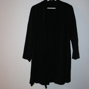Zara Front-Tie Long Blazer or Robe in Black